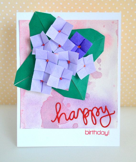 Handmade origami flower birthday card hydrangea flowers origami flower birthday card hydrangea flowers mightylinksfo