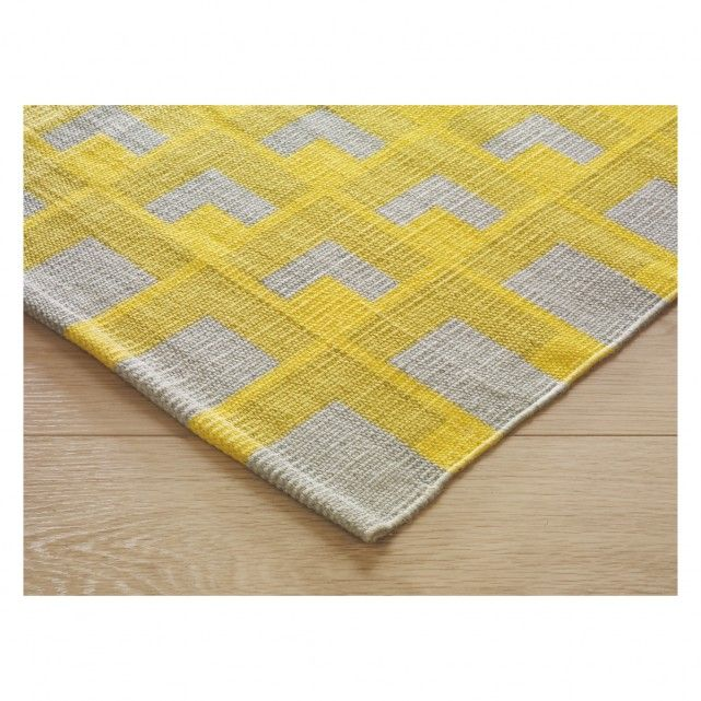 Chroma Yellow And Grey Patterned Cotton Runner 75 X 250cm Now At Habitat Uk