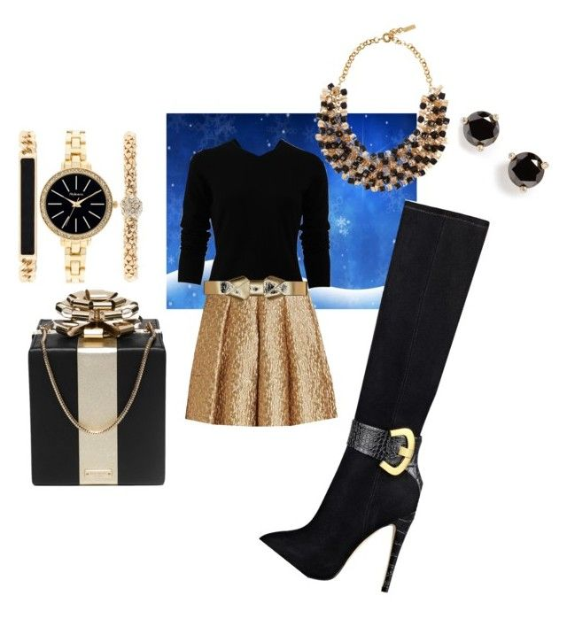 Black gold 'n glam by mzilla on Polyvore featuring polyvore, fashion, style, Oscar de la Renta, Creatures Of The Wind, GUESS, Kate Spade, Style & Co., Etro, Marni, women's clothing, women's fashion, women, female, woman, misses and juniors