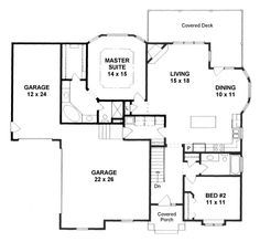 Photo of Traditional Style House Plan 62639 with 2 Bed, 2 Bath, 3 Car Garage