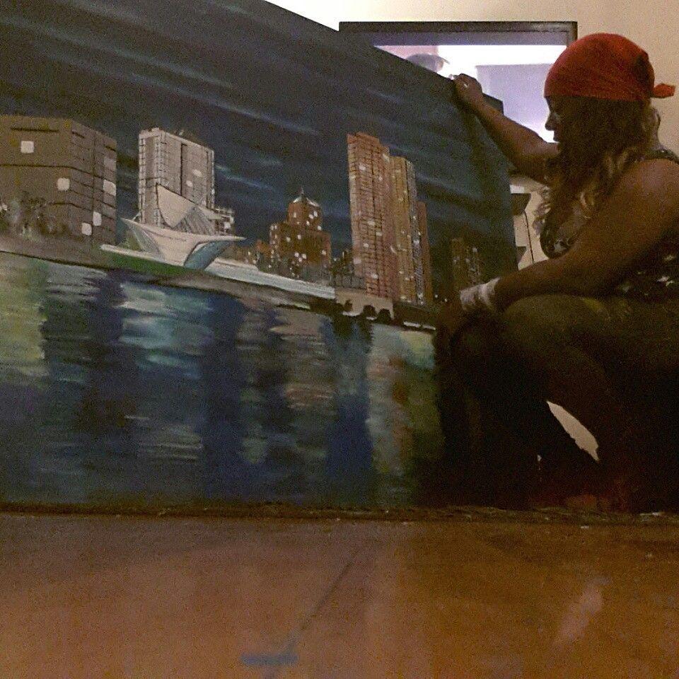 Art of skyline Milwaukee by shacream artist www.shacream.com