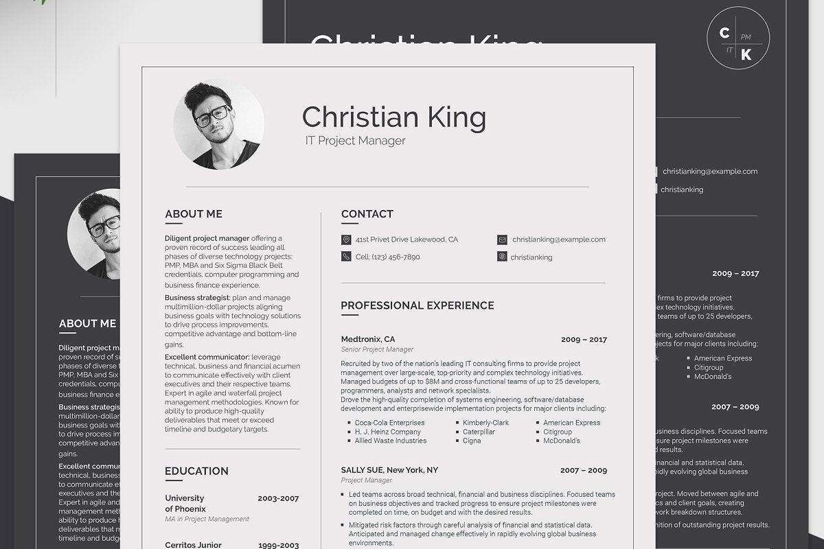 Ad printable resume for project manager by motocms on