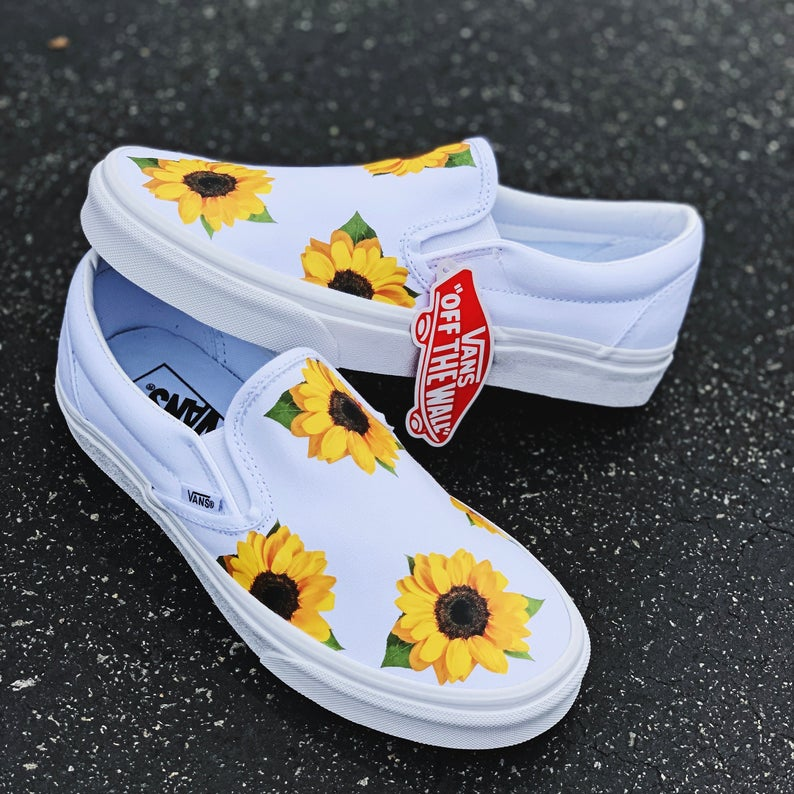 Sunflower Vans, Custom Vans, Custom Shoes, Vans, Custom Sneakers, Floral Vans, Slip On Vans, White Vans, is part of Custom vans shoes -  No