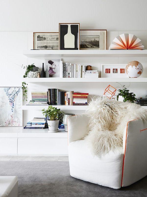 Open bookshelves - try LACK floating shelves http://www.ikea.com/gb/en/catalog/categories/departments/living_room/10398/