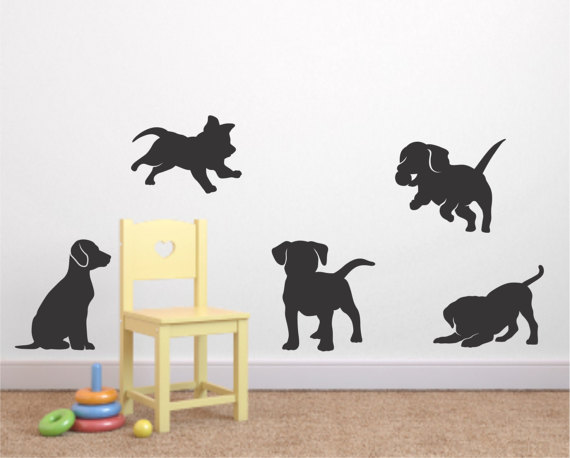 Puppy Vinyl Wall Decal Set Of Puppy Decal Nursery Vinyl Wall - Custom vinyl wall decals dogs