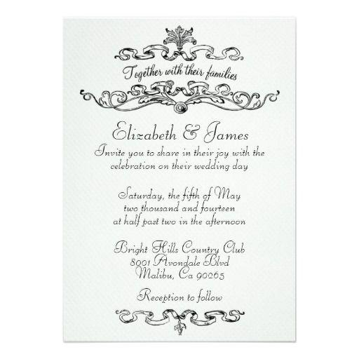Simple Luxury Black And White Wedding Invitations