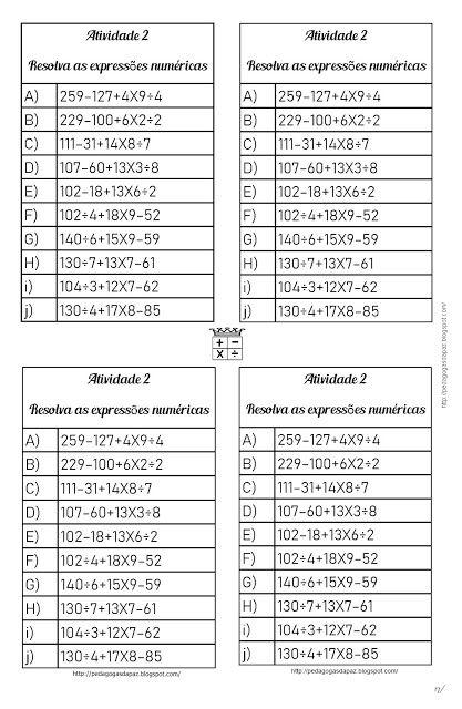 So Continhas Lista De Continhas Expressao Numerica Com As 4