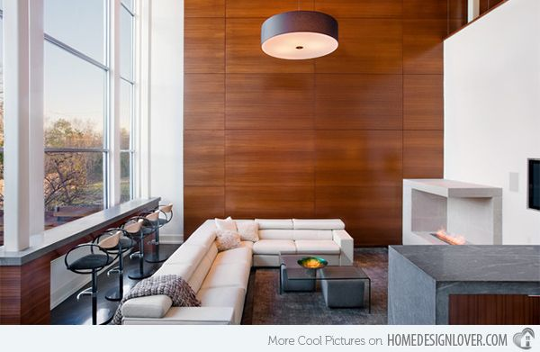 Wooden Panel Walls In 15 Living Room Designs Contemporary Living