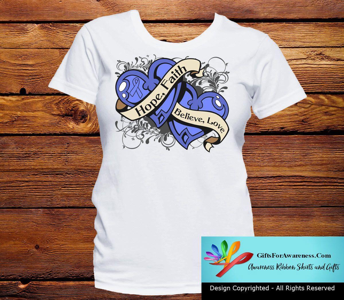 Stomach Cancer Hope Believe Faith Love Shirts