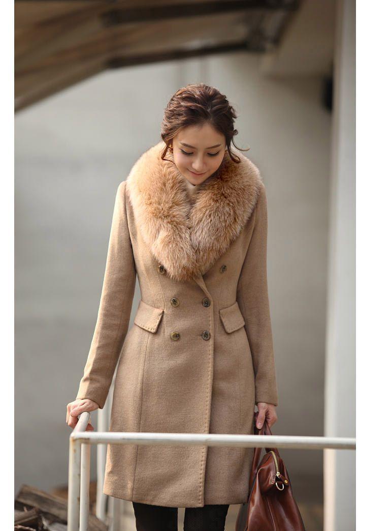 wool coat winter women with Faux fur collar coats winter warm long ...