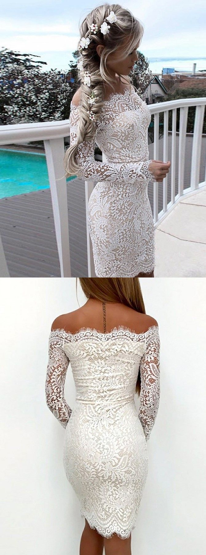 Sheath off the shoulder long sleeves white lace short homecoming