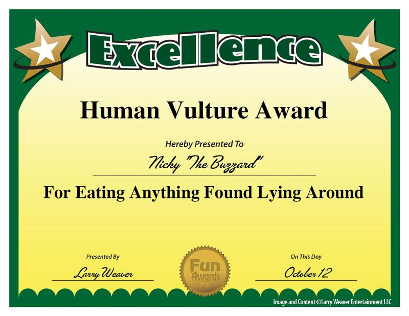 101 Funny Employee Awards by comedian Larry Weaver http\/\/www - first place award certificate