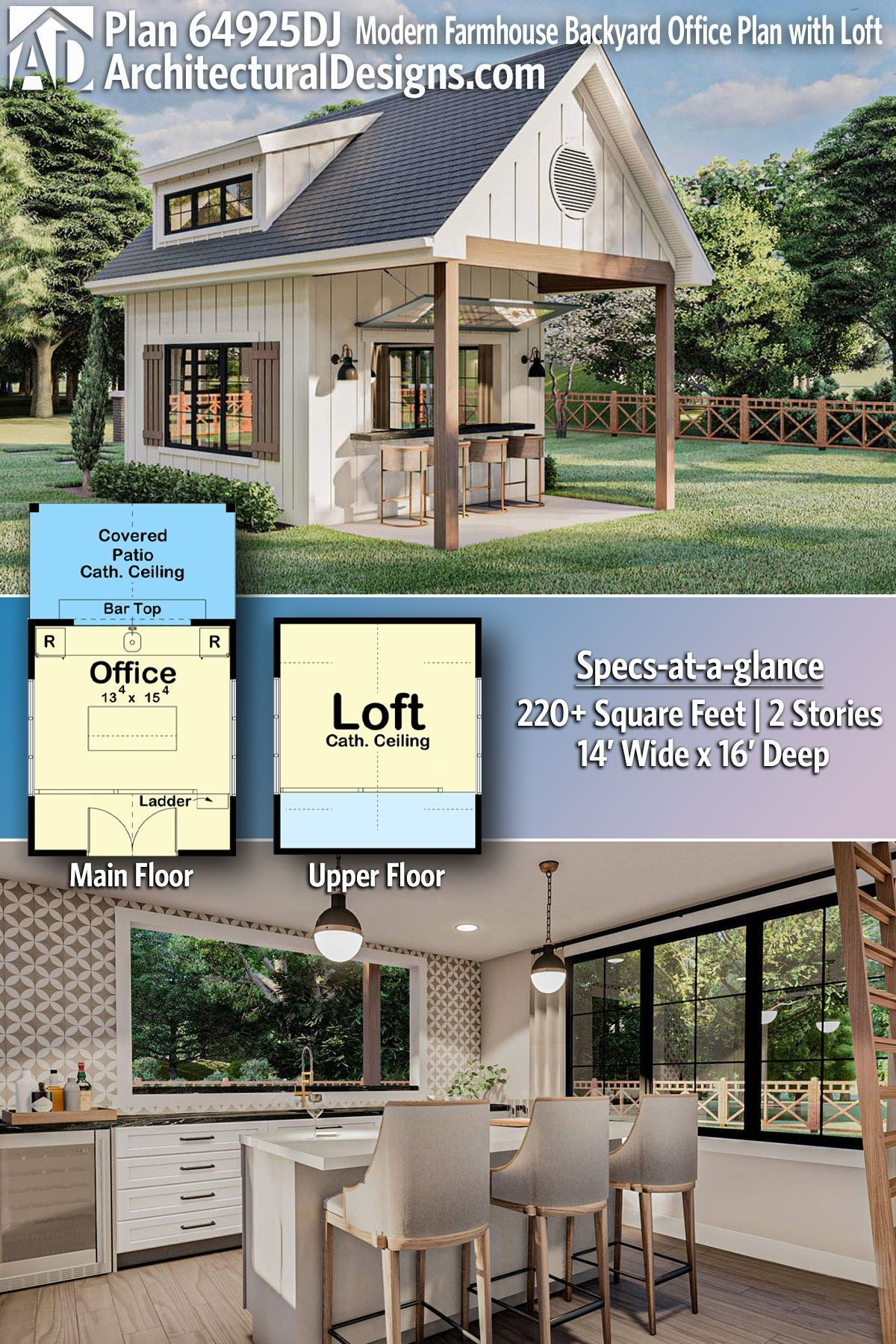 Plan 62925dj Modern Farmhouse Backyard Office Plan With Loft In 2021 Backyard Office Backyard Exclusive House Plan Modern farmhouse backyard office plan with loft