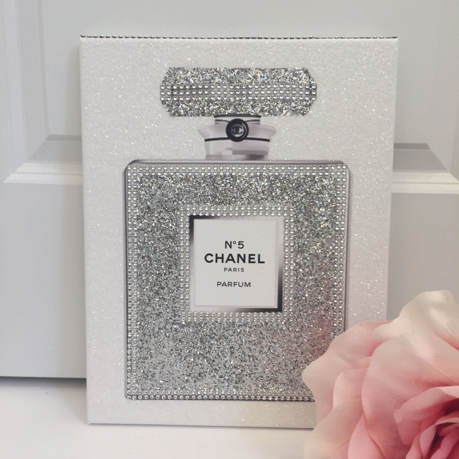 Last One Left Canvas Wrapped Embellished Art Print Chanel No 5  ~ Prateleira Para Perfumes No Quarto