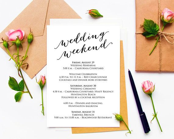 Wedding Weekend Itinerary Details Card Insert, Wedding Information - wedding card template