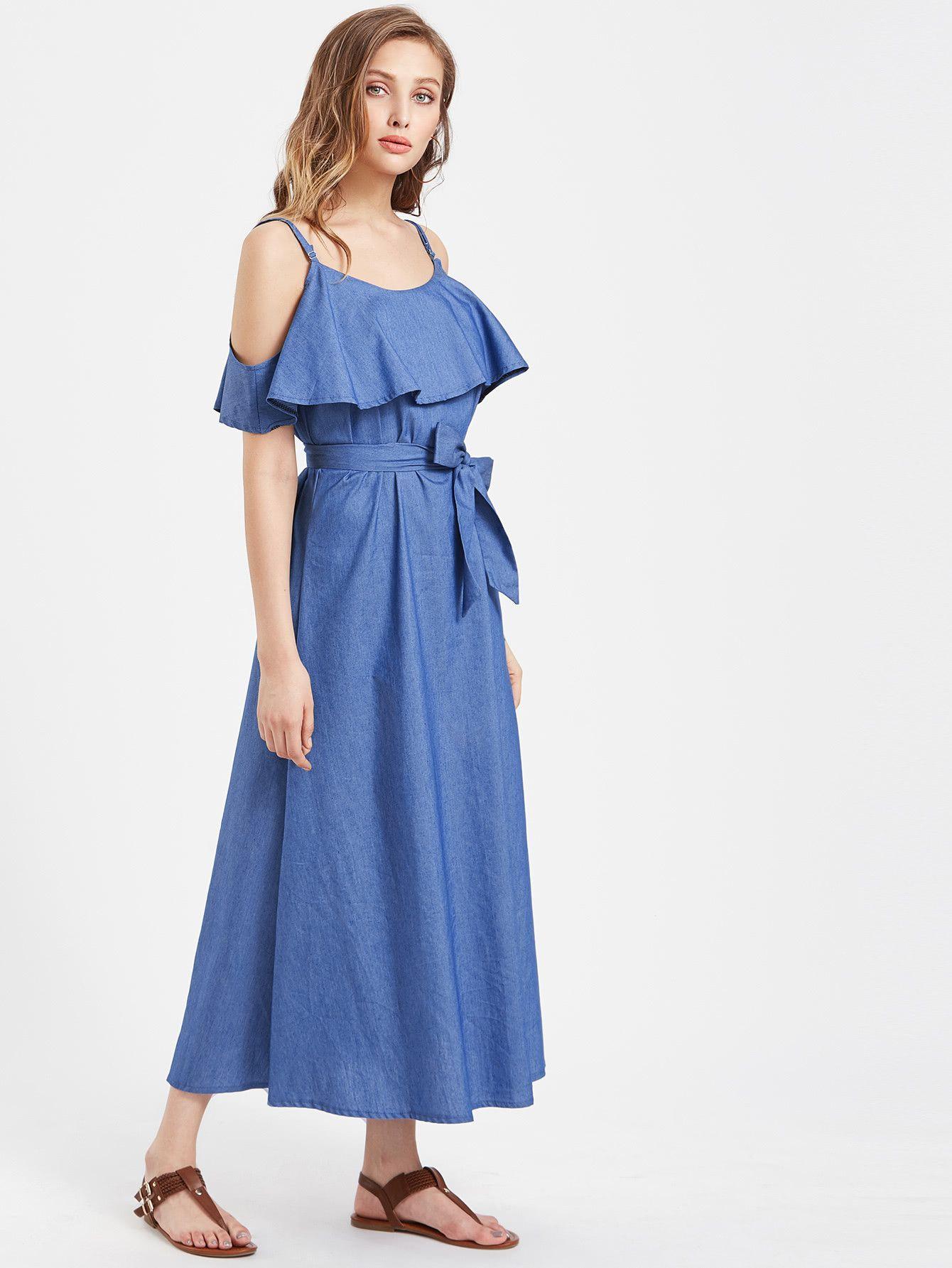 Blue layered open shoulder self tie a line maxi dress