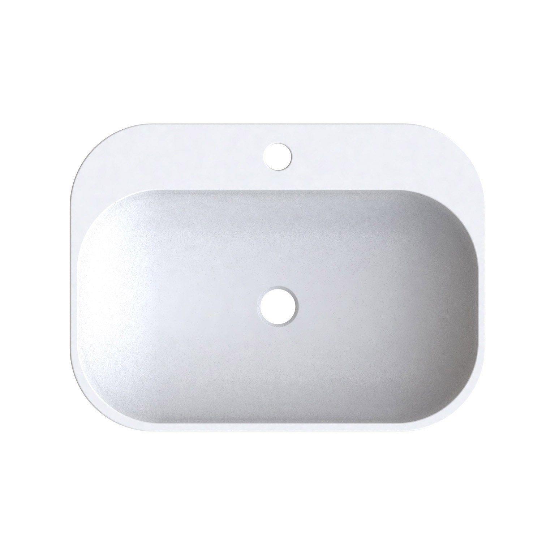 Vasque A Poser Resine De Synthese L 50 X P 37 Cm Blanc Pal Vasque A Poser Vasque Et Plan Vasque