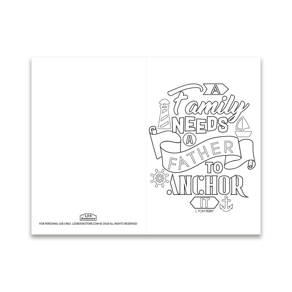 Father S Day Coloring Card A Family Needs A Father Printable Father S Day Card Template Fathers Day Cards Good Good Father