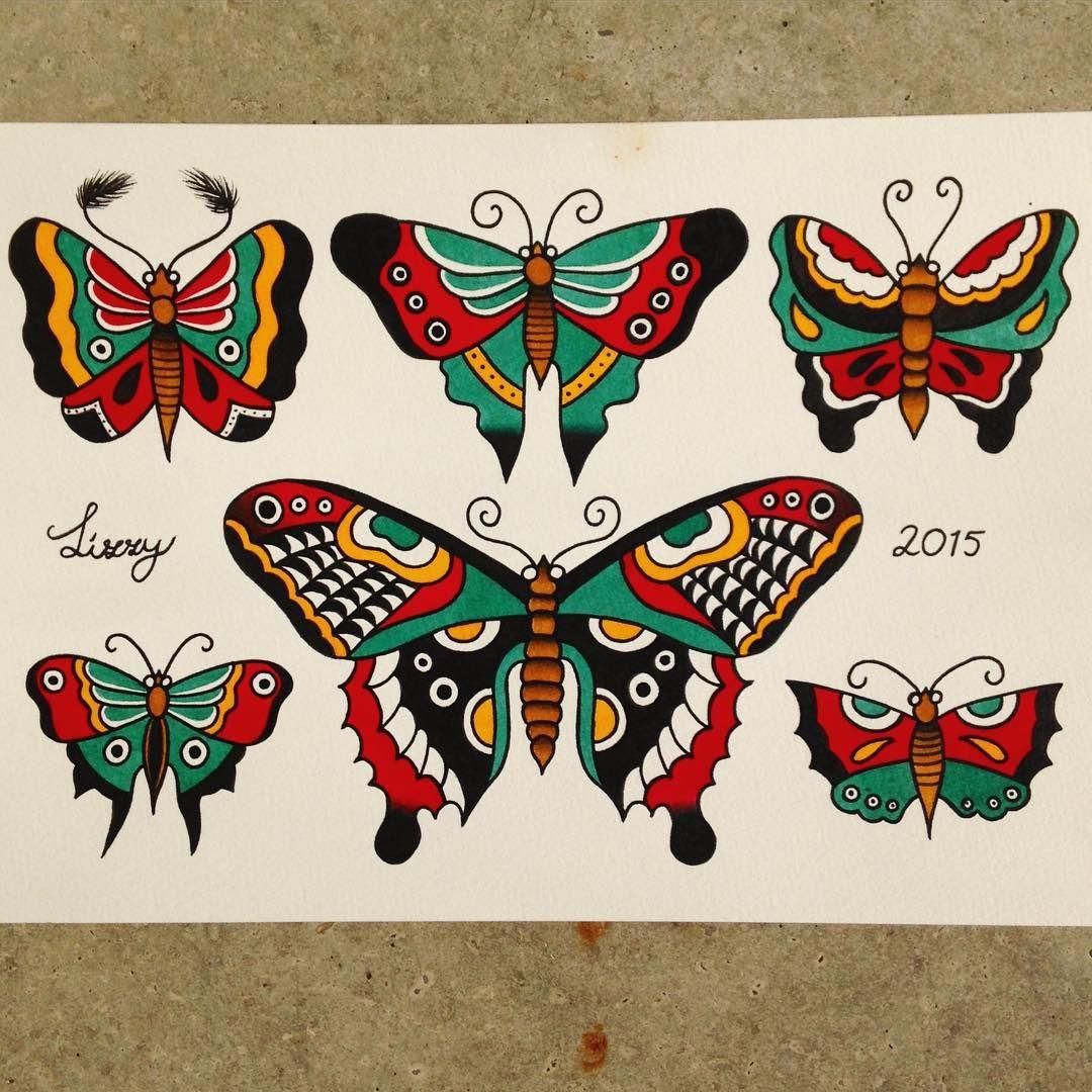 �sailor jerry inspired butterflies tattooflash