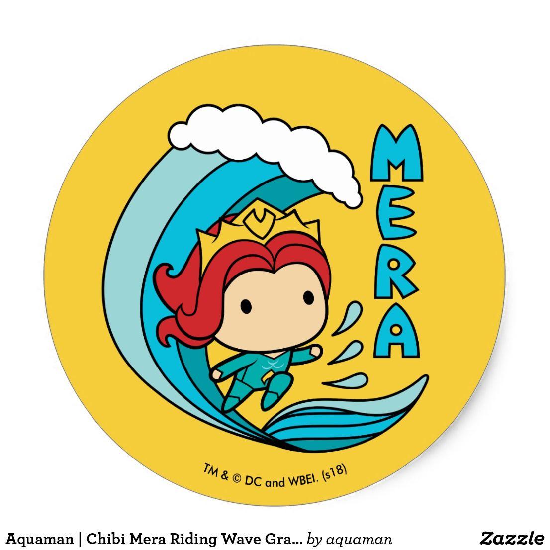 Aquaman chibi mera riding wave graphic classic round sticker
