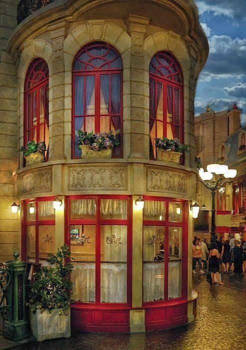 Cafe, Paris, France....Love the building.