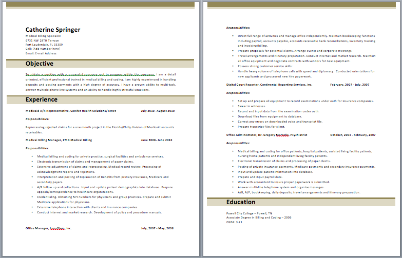 medical billing manager resume - Medical Billing Resume Sample