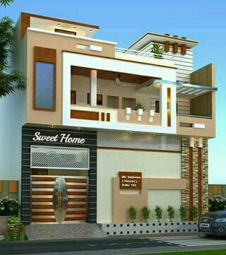 Building elevation house front design also commercial complex cum residen rustic home in pinterest rh