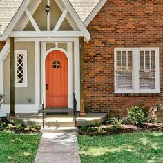 orange brick house paint trim turquoise door google search