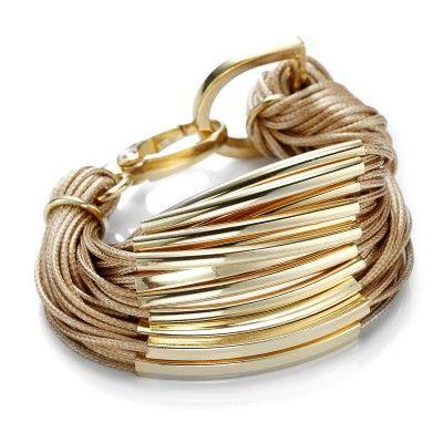Gold Tube Multi-Strand Bracelet Wheat