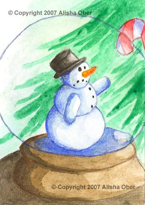 """Wanting"" by Alisha Ober #watercolor #snowman #snowglobe"