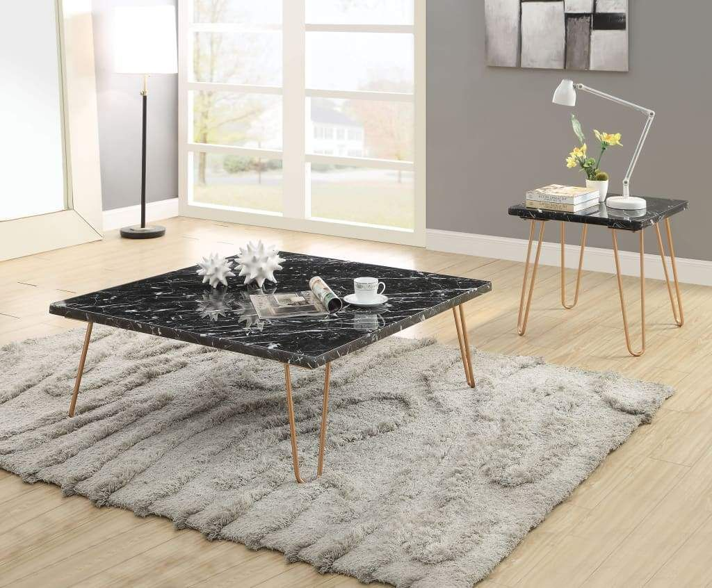 Black Marble Top Coffee Table With Metal Hairpin Style Legs In