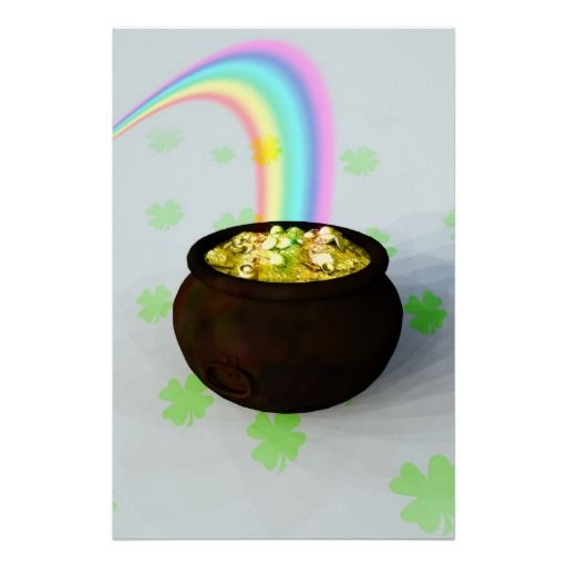 Lucky Pot of Gold At The Rainbows End
