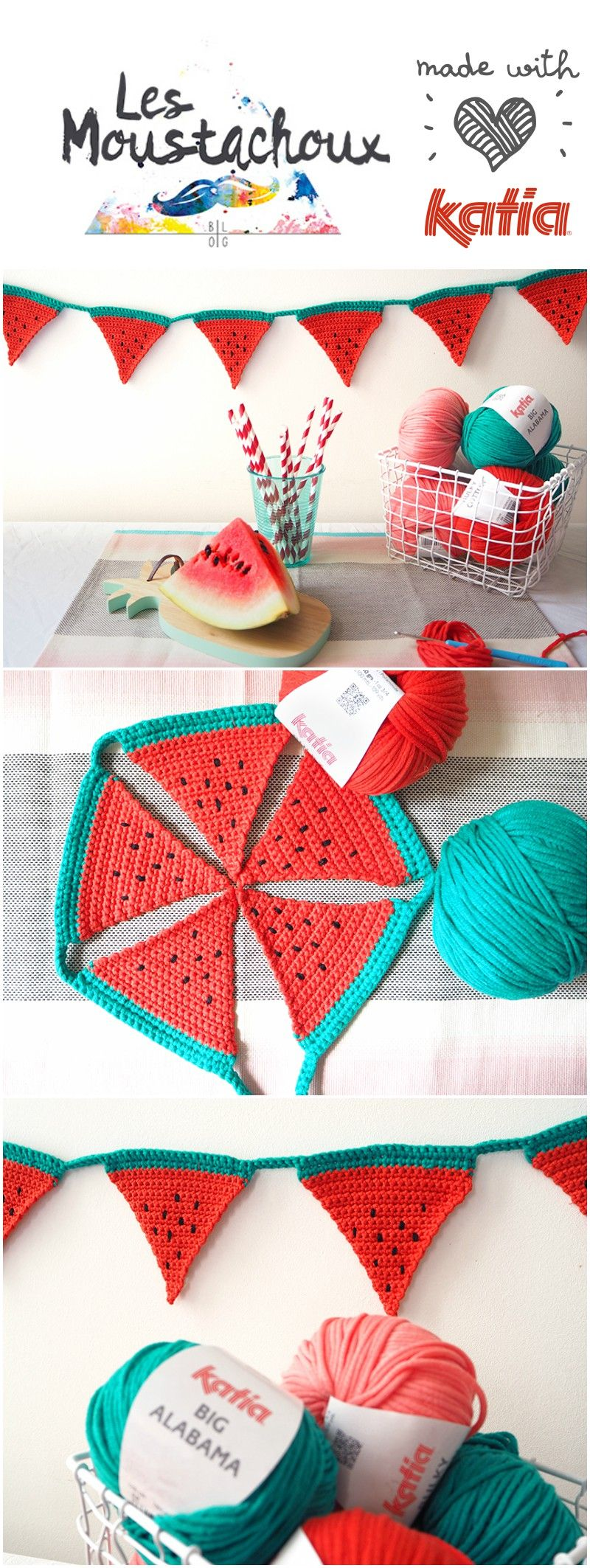 Craft lovers gehaakte slinger van watermeloenen door les anne sophie a passionate decoration and diy enthusiast has created for craft lovers using katia bulky cotton and big alabama a crochet watermelon bunting bankloansurffo Images