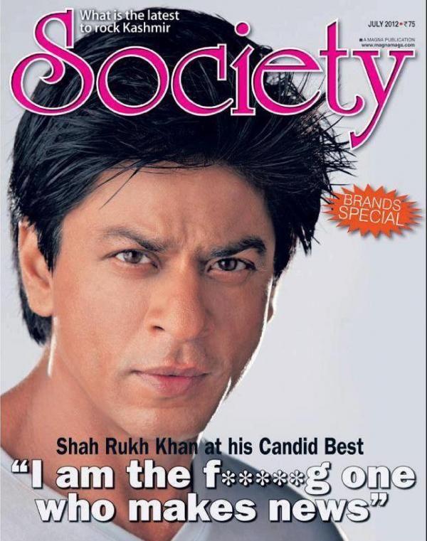SRK - Society magazine cover July 2012