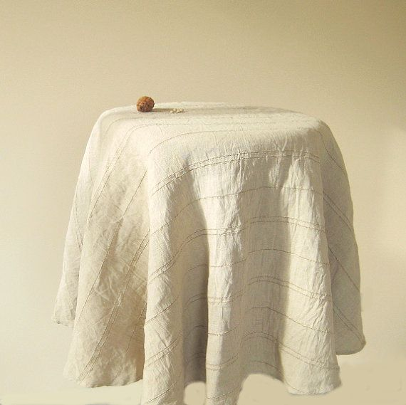 Modern Round Linen Gray Tablecloth, Washed Striped Flax Table Cloth,  Farmhouseu2026