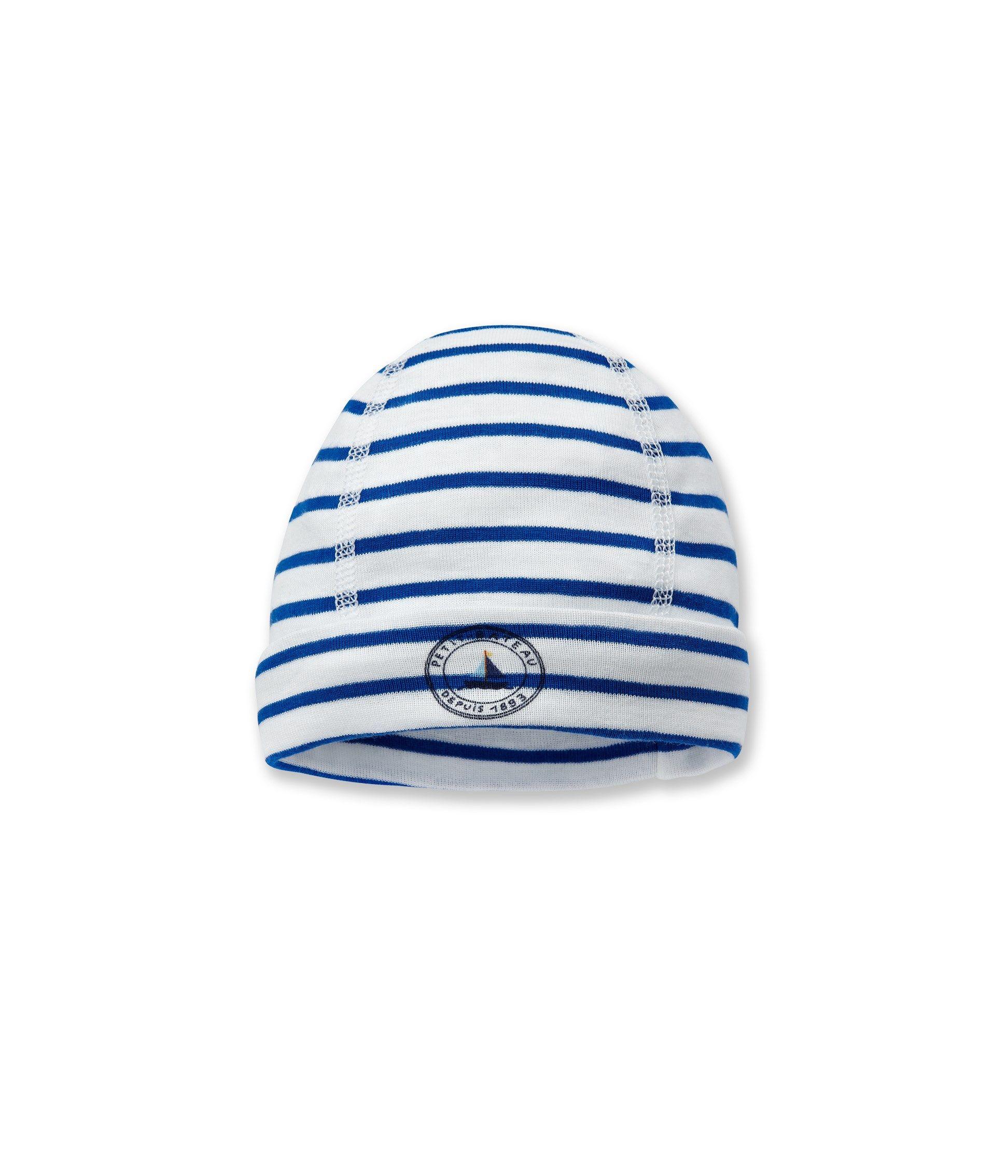 Bonnet naissance bébé garçon rayé blanc Ecume   bleu Delft - Petit Bateau 43206dc771d