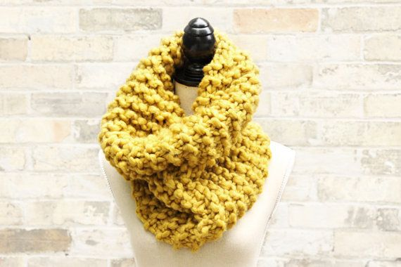 Knitting Loop Scarf : Chunky knit cowl mustard yellow super scarf huge