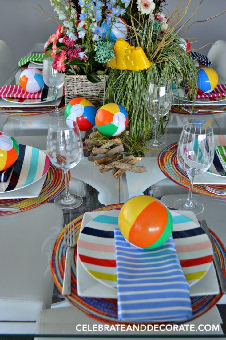Beach party table decorations a beach ball tablescape  tablescapes  pinterest  beach ball