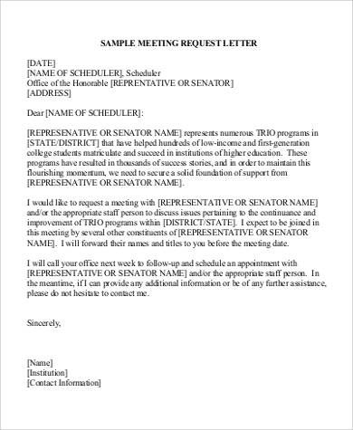 sample business meeting appointment request letter for Home - requisition letter format