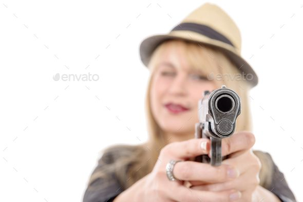 Download Free Graphicriver 	             young pretty woman pointing a gun at the camera with one hand,            #aim #assassin #assault #attack #barrel #closeup #cocked #crime #criminal #defense #detective #determined #enforcement #focus #frontal #gangster #gun #handgun #head #hold-up #hooligan #kill #law #mobster #muzzle #outlaw #pistol #police #revolver #selective #serious #shoot #shooter #stare #teenager #threaten #thug #trigger #undercover #vamp #violence #weapon #woman