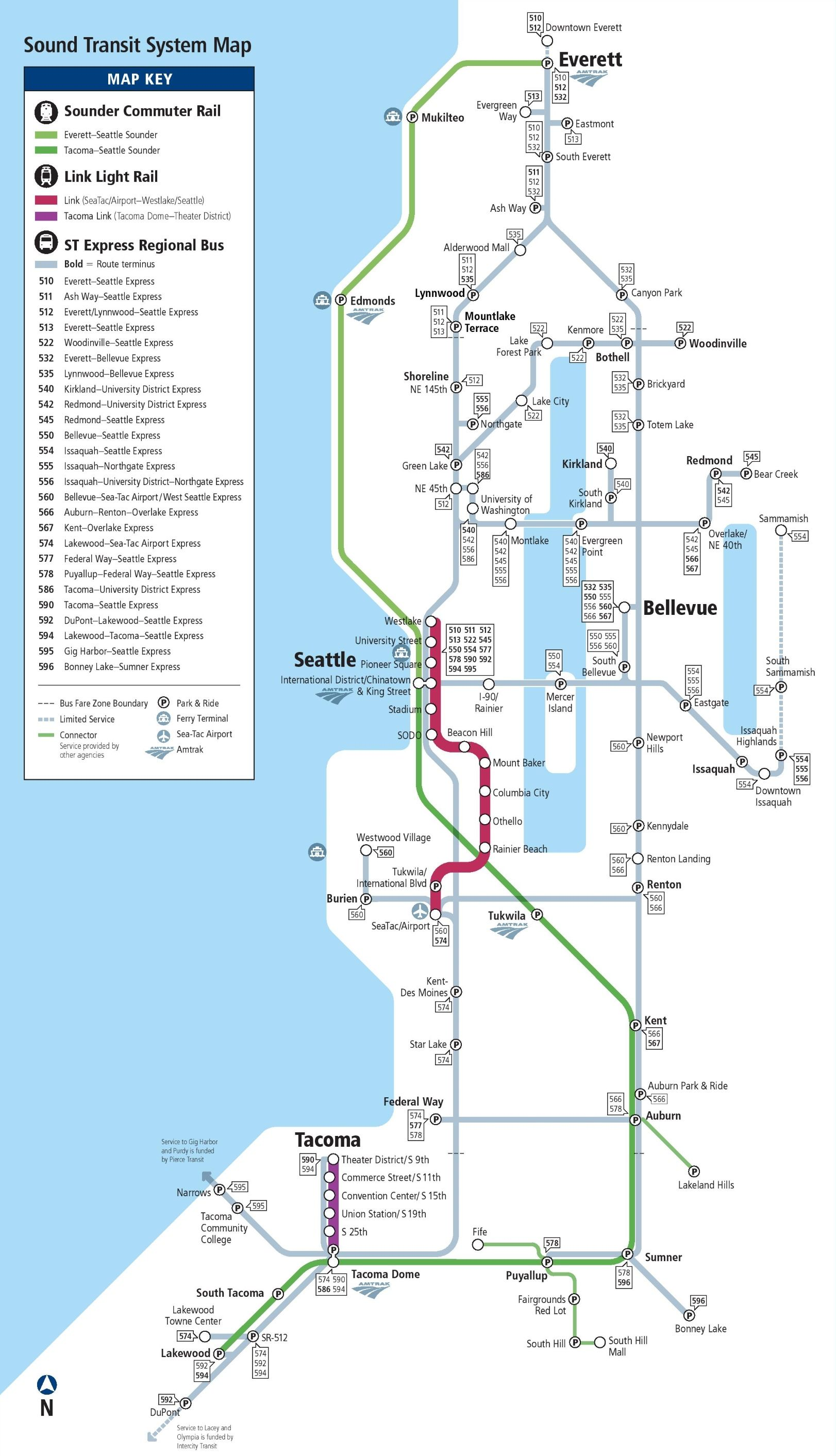 Seattle express bus, rail and light rail map | Seattle | Pinterest