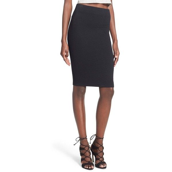 Junior Lush Textured Knit Pencil Skirt ($34) ❤ liked on
