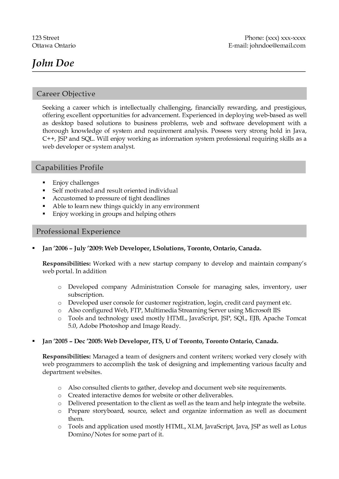 resume lotus notes developer