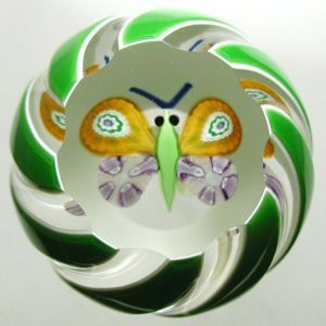 """Currier Collections Online - """"Double Overlay with Butterfly Miniature Paperweight"""" by Perthshire Paperweights"""
