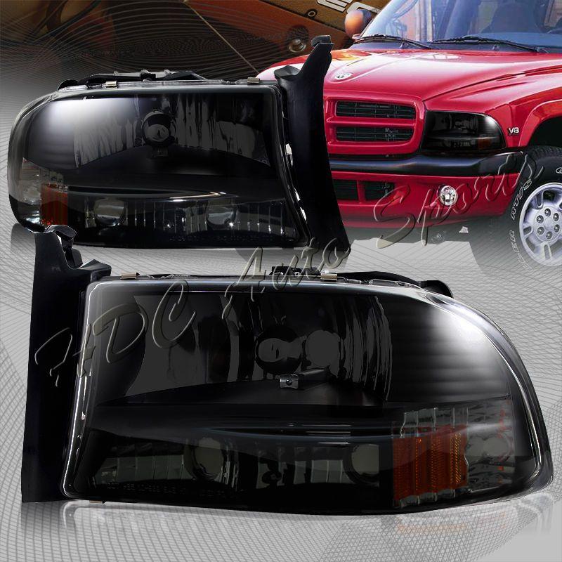 For 1997 2004 Dodge Dakota Durango 1 Piece Smoke Housing Headlights Bumper Lamps Dodge Dakota Dodge Durango