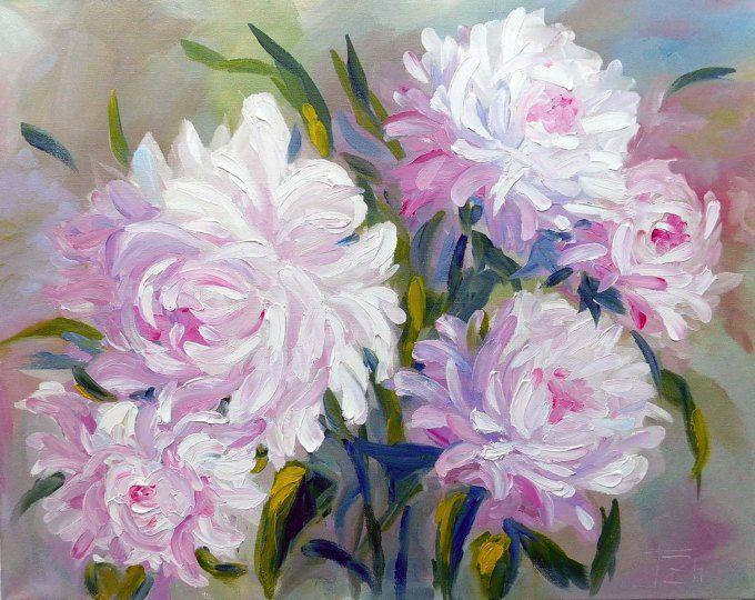 Original Impasto Pink Flowers Impasto Acrylic Painting