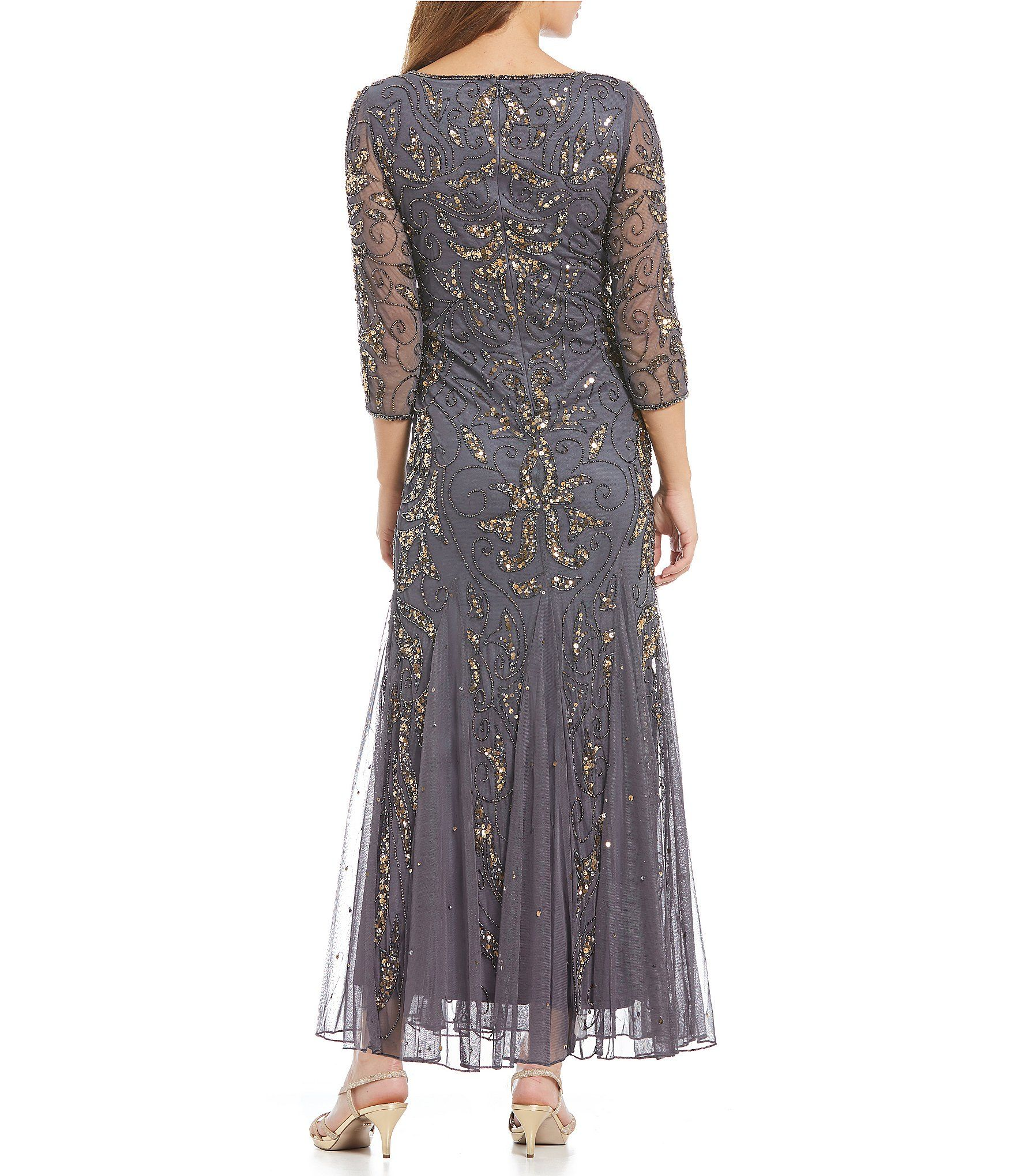 Pisarro Nights 3/4 Sleeve Beaded Gown | Dillards, Clothing ...