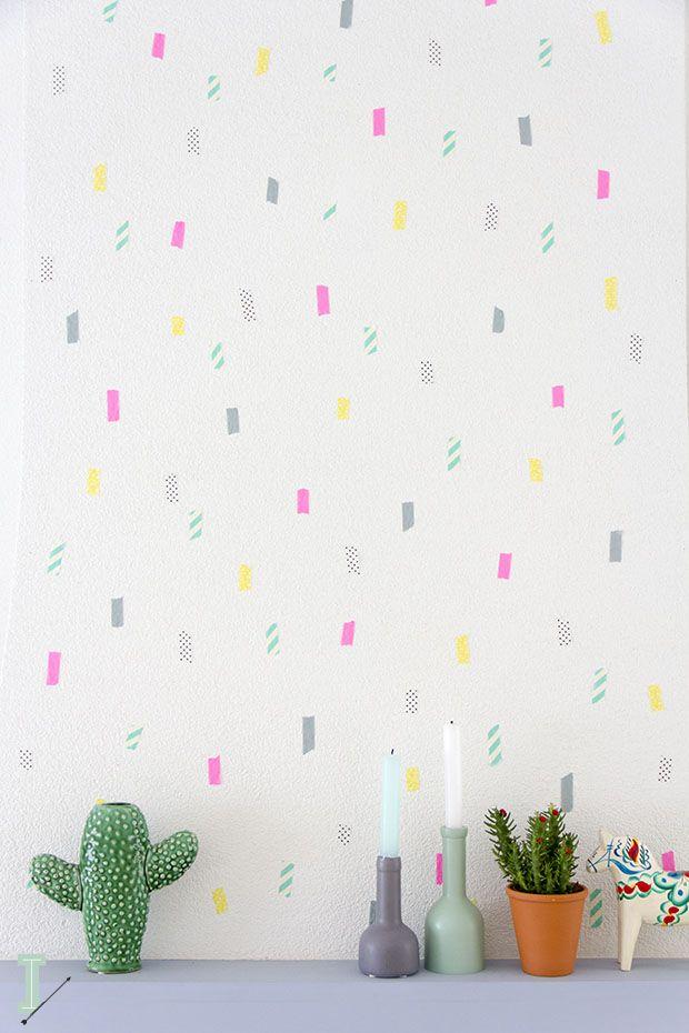 diy avec du masking t tape pour décorer les murs de sa chambre ...