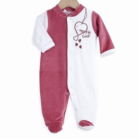 5c388704a2be8 Pyjama bébé fille prématuré 45 cm en velours blanc   pivoine P tit coeur à  9
