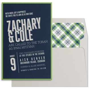 Contemporary Green and Navy Bar Mitzvah Invitation by Luscious Verde